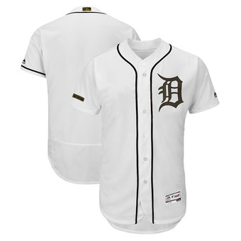Men's Detroit Tigers Majestic White 2018 Memorial Day Authentic Collection Flex Base Team Custom Jersey