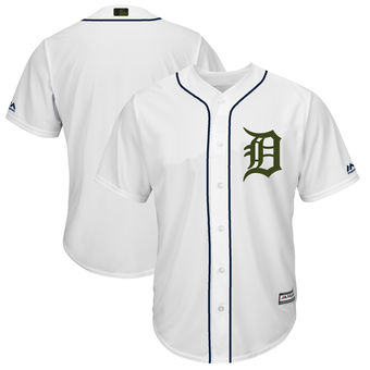 Men's Detroit Tigers Majestic White 2018 Memorial Day Cool Base Team Custom Jersey