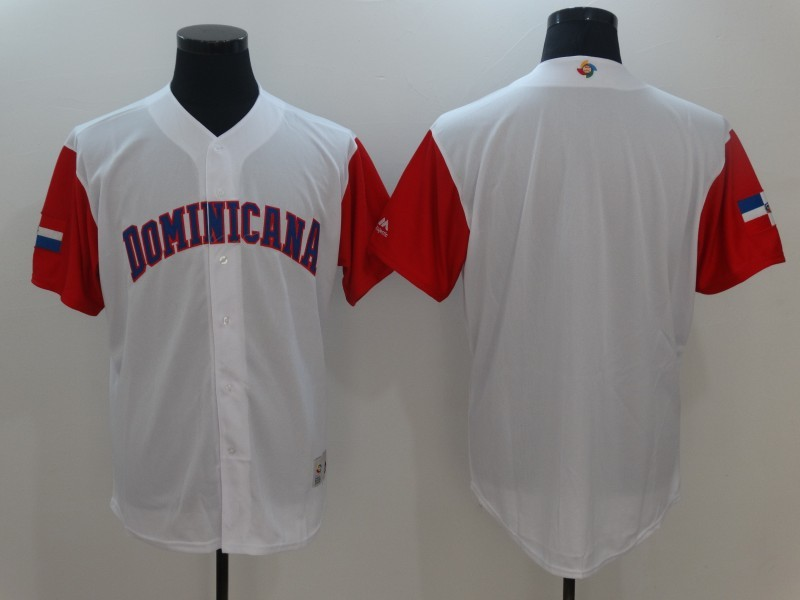 Men's Dominican Republic Baseball White Blank 2017 World Baseball Classic Jersey