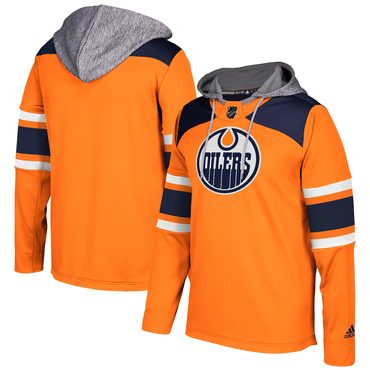 Men's Edmonton Oilers Adidas Orange Silver Jersey Pullover Hoodie