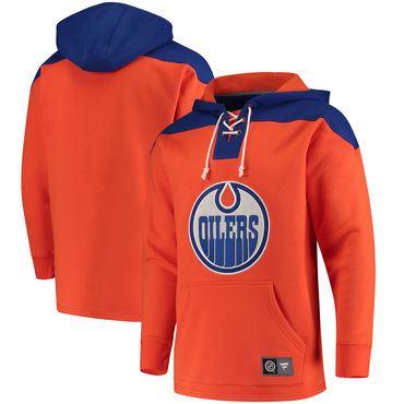 Men's Edmonton Oilers Fanatics Branded Orange Navy Breakaway Lace Up Hoodie