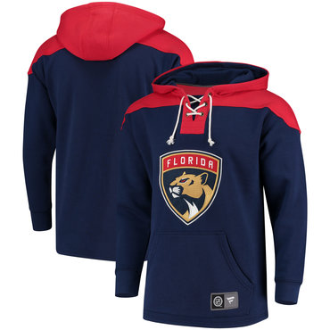 Men's Florida Panthers Fanatics Branded Navy Red Breakaway Lace Up Hoodie