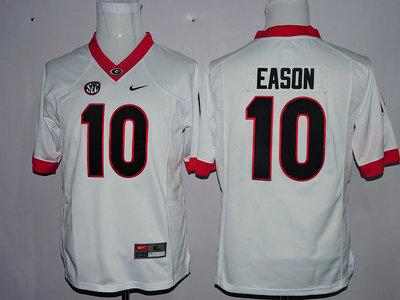 Men's Georgia Bulldogs 10 Jacob Eason White College Football Jersey