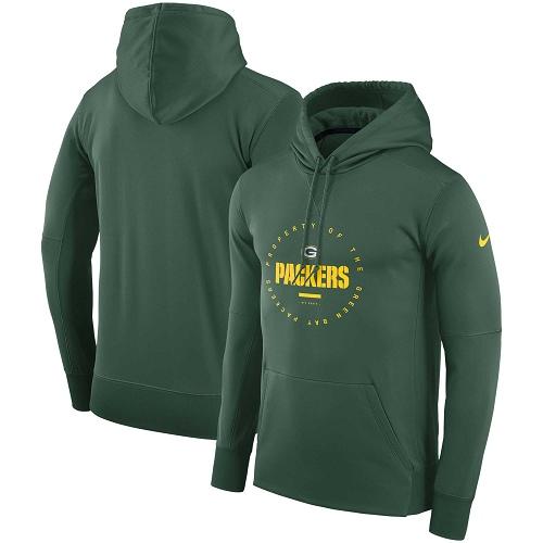 Men's Green Bay Packers Nike Green Sideline Property Of Wordmark Logo Performance Pullover Hoodie