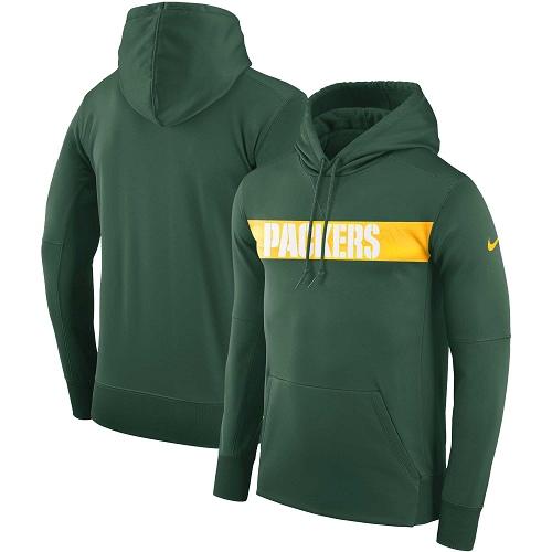 Men's Green Bay Packers Nike Green Sideline Team Performance Pullover Hoodie