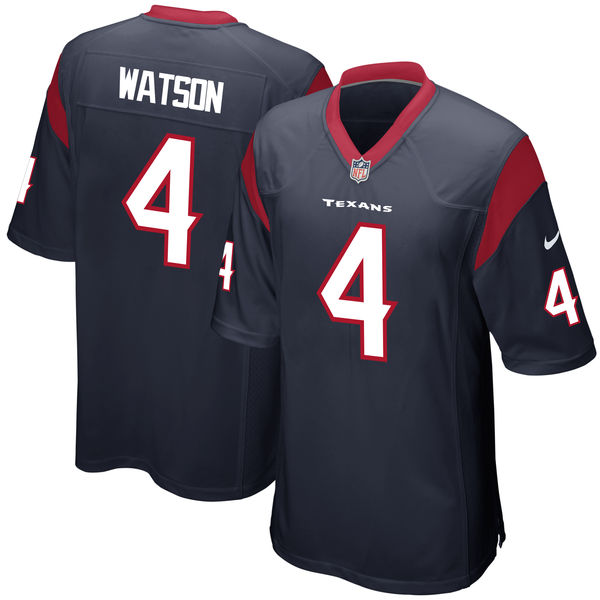 Men's Houston Texans #4 Deshaun Watson Nike Navy 2017 Draft Pick Game Jersey