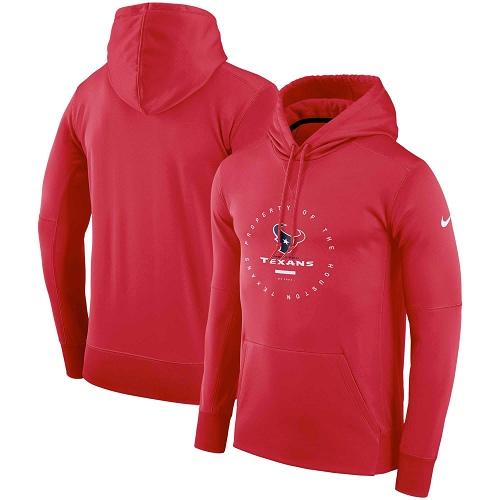 Men's Houston Texans Nike Red Sideline Property Of Wordmark Logo Performance Pullover Hoodie