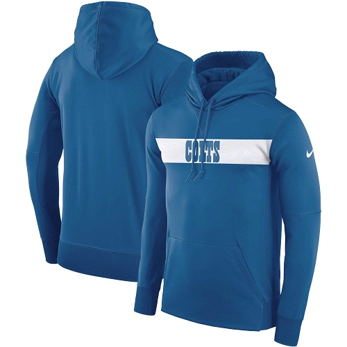 Men's Indianapolis Colts Nike Royal Sideline Team Performance Pullover Hoodie