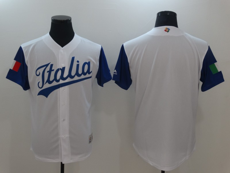 Men's Italy Baseball Majestic White Blank 2017 World Baseball Classic Team Jersey