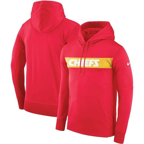 Men's Kansas City Chiefs Nike Red Sideline Team Performance Pullover Hoodie