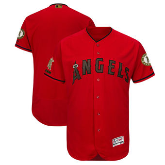 Men's Los Angeles Angels Majestic Scarlet 2018 Memorial Day Authentic Collection Flex Base Team Custom Jersey