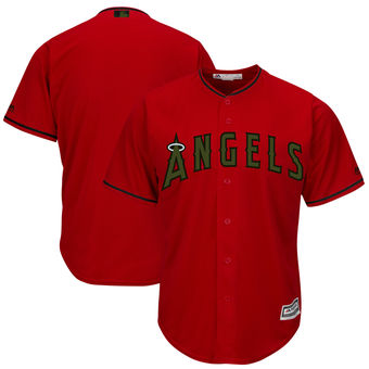 Men's Los Angeles Angels Majestic Scarlet 2018 Memorial Day Cool Base Team Custom Jersey