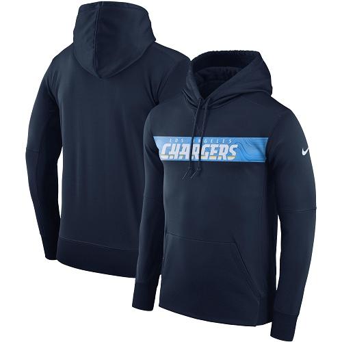 Men's Los Angeles Chargers Nike Navy Sideline Team Performance Pullover Hoodie