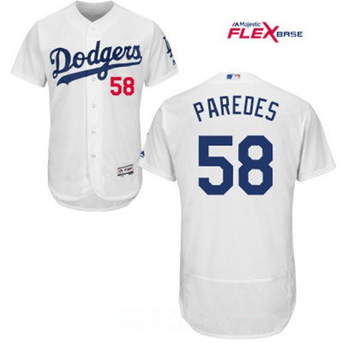 Men's Los Angeles Dodgers #58 Edward Paredes White Home Stitched MLB Majestic Flex Base Jersey