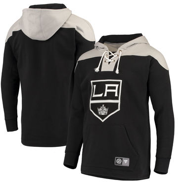 Men's Los Angeles Kings Fanatics Branded Black Silver Breakaway Lace Up Hoodie