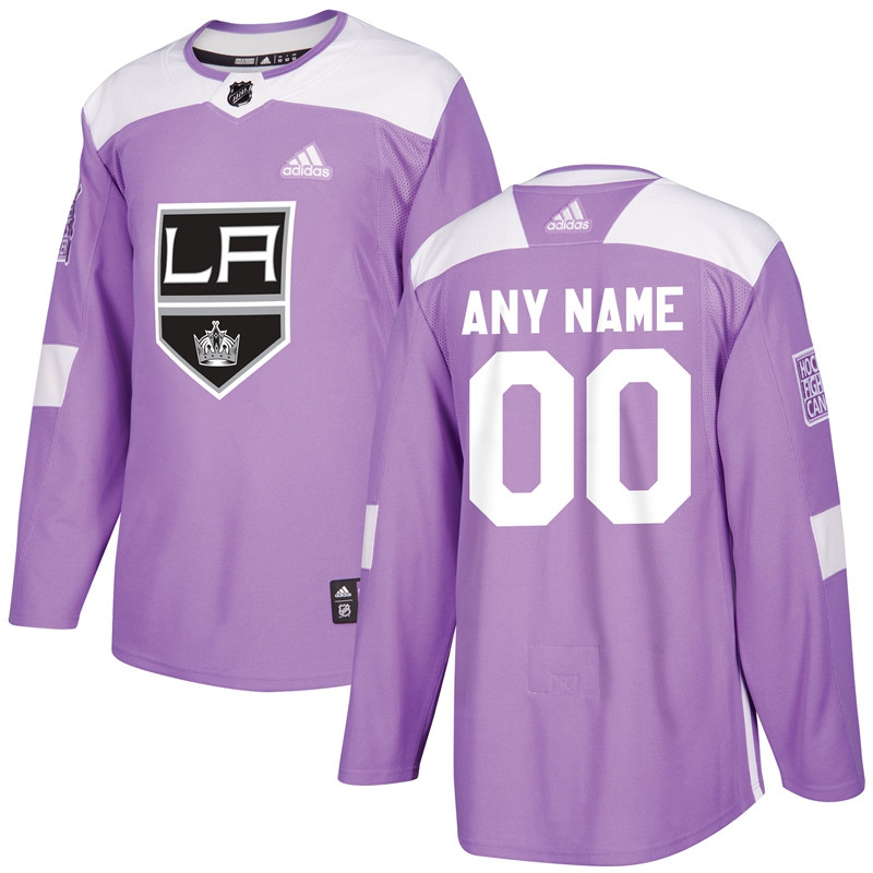 Men's Los Angeles Kings Purple Adidas Hockey Fights Cancer Custom Practice Jersey
