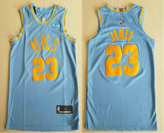 Men's Los Angeles Lakers #23 LeBron James MPLS Blue Hardwood Classics Soul Nike Authentic Wish Stitched NBA Jersey
