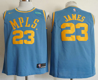 Men's Los Angeles Lakers #23 LeBron James MPLS Blue Hardwood Classics Soul Nike Swingman Wish Stitched NBA Jersey
