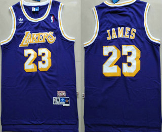 Men's Los Angeles Lakers #23 LeBron James Purple Swingman Stitched NBA Throwback Jersey