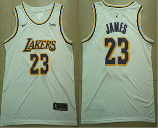 Men's Los Angeles Lakers #23 LeBron James White 2018-19 Nike Wish Swingman Association Edition Stitched Jersey