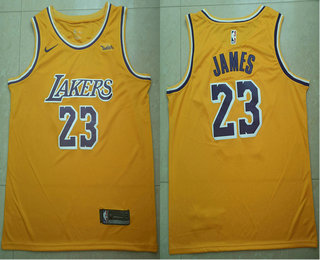Men's Los Angeles Lakers #23 LeBron James Yellow 2018-19 Nike Wish Swingman Icon Edition Jersey