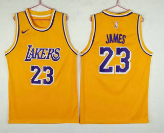 Men's Los Angeles Lakers #23 LeBron James Yellow 2018-2019 Nike Swingman Stitched NBA Jersey