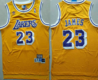 Men's Los Angeles Lakers #23 LeBron James Yellow Swingman Stitched NBA Throwback Jersey