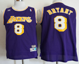 Men's Los Angeles Lakers #8 Kobe Bryant Purple Swingman Throwback Jersey