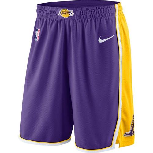 Men's Los Angeles Lakers Nike Purple Statement Swingman Basketball Shorts