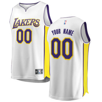 Men's Los Angeles Lakers White Custom Jersey