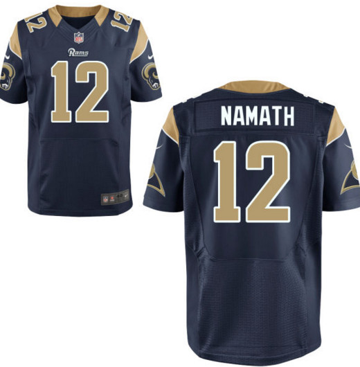 Men's Los Angeles Rams Nike #12 Joe Namath Navy Elite Jersey