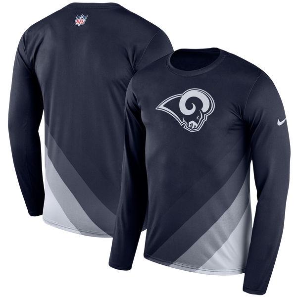 Men's Los Angeles Rams Nike Navy Sideline Legend Prism Performance Long Sleeve T-Shirt