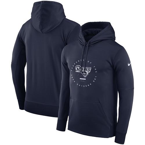 Men's Los Angeles Rams Nike Navy Sideline Property Of Wordmark Logo Performance Pullover Hoodie