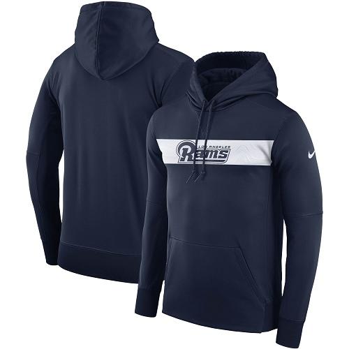 Men's Los Angeles Rams Nike Navy Sideline Team Performance Pullover Hoodie