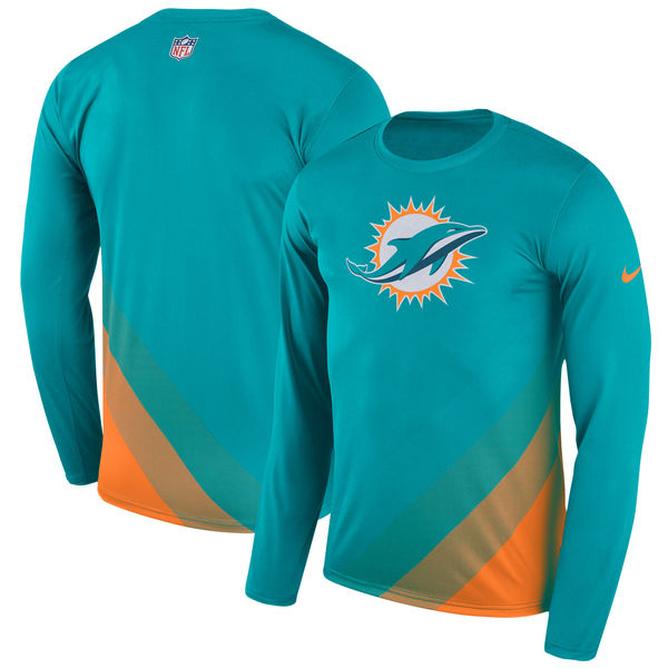 Men's Miami Dolphins Nike Aqua Sideline Legend Prism Performance Long Sleeve T-Shirt