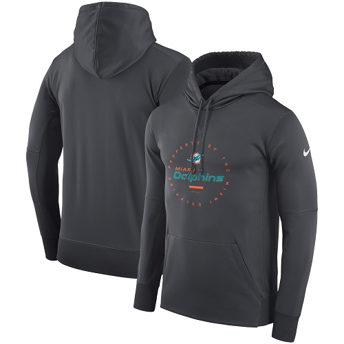 Men's Miami Dolphins Nike Charcoal Sideline Property Of Wordmark Logo Performance Pullover Hoodie