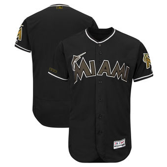 Men's Miami Marlins Majestic Black 2018 Memorial Day Authentic Collection Flex Base Team Custom Jersey