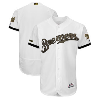 Men's Milwaukee Brewers Majestic White 2018 Memorial Day Authentic Collection Flex Base Team Custom Jersey