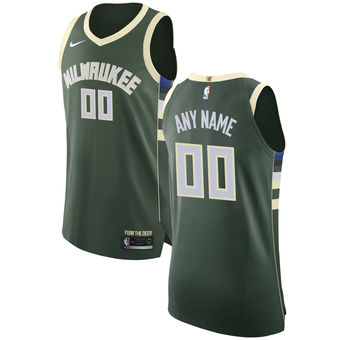 Men's Milwaukee Bucks Nike Green Custom Jersey