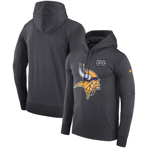 Men's Minnesota Vikings Nike Anthracite Crucial Catch Performance Pullover Hoodie