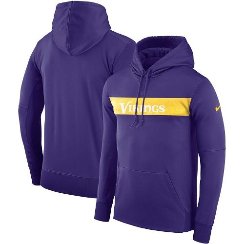 Men's Minnesota Vikings Nike Purple Sideline Team Performance Pullover Hoodie