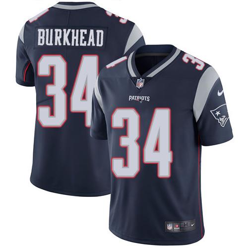 Men's New England Patriots #34 Rex Burkhead Blue Vapor Limited Jersey