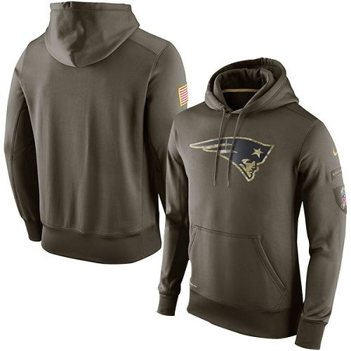 Men's New England Patriots Nike Olive Salute To Service KO Performance Hoodie