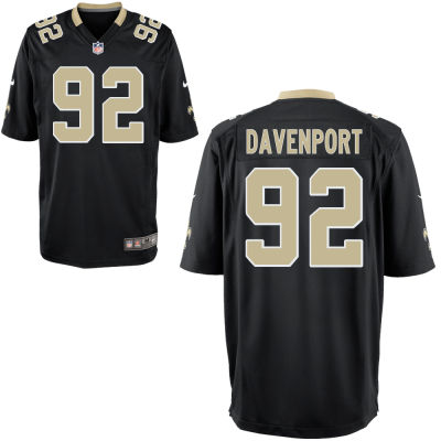 Men's New Orleans Saints Nike #92 Marcus Davenport Black Elite Jersey
