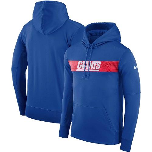 Men's New York Giants Nike Royal Sideline Team Performance Pullover Hoodie