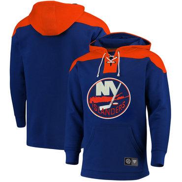 Men's New York Islanders Fanatics Branded Navy Orange Breakaway Lace Up Hoodie