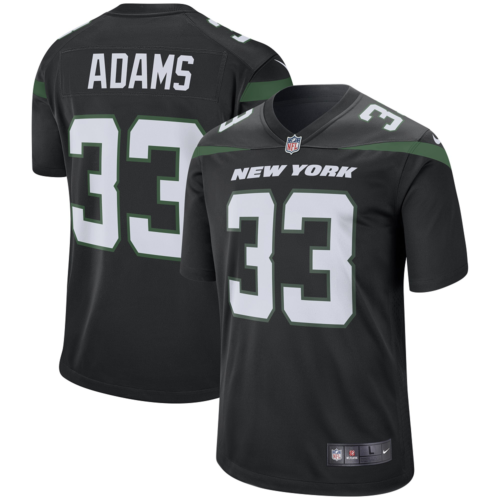 Men's New York Jets  #33 Jamal AdamsBlack Player Game Jersey
