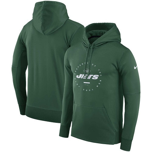 Men's New York Jets Nike Green Sideline Property Of Wordmark Logo Performance Pullover Hoodie