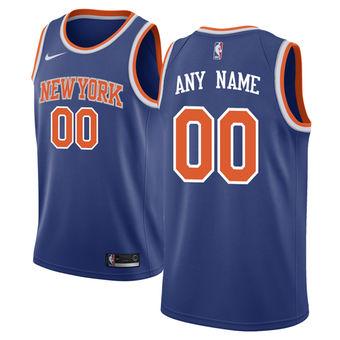 Men's New York Knicks Blue Custom Jersey