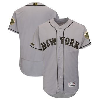 Men's New York Mets Majestic Gray 2018 Memorial Day Authentic Collection Flex Base Team Custom Jersey